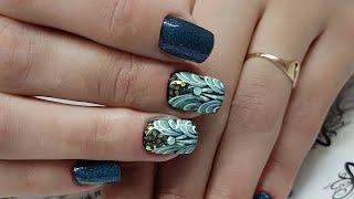 многоуровневый дизайн ногтей. простой и быстрый дизайн ногтей. дизайн ногтей с пайетками