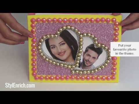 How to Make Heart Shaped DIY Photo Frame from Cardboard | DIY Valentines Gift Ideas