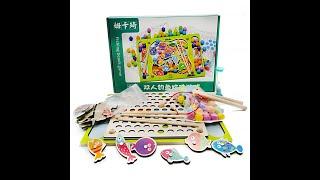 Сортер деревянный Цветные шарики Магнитная рыбалка Монтессори игрушки из дерева 2 в 1