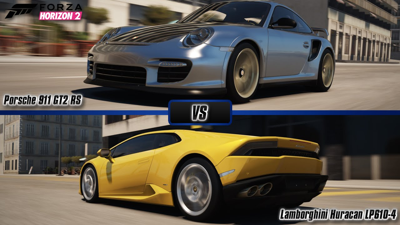 forza horizon 2 porsche 911 gt2 rs vs lamborghini huracan lp610 4 porsche bonus pack youtube. Black Bedroom Furniture Sets. Home Design Ideas