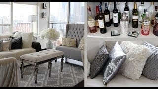 Apartment Tour: Entertainment Center, Bar + Hanging Candles!