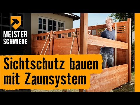 sichtschutz bauen mit zaunsystem hornbach meisterschmiede youtube. Black Bedroom Furniture Sets. Home Design Ideas