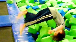 slow motion jumping at the trampoline park