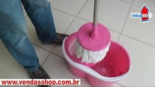 Spin Mop Magic Balde Centrifuga Sem Pedal Cor Rosa Especial P/ as Mulheres