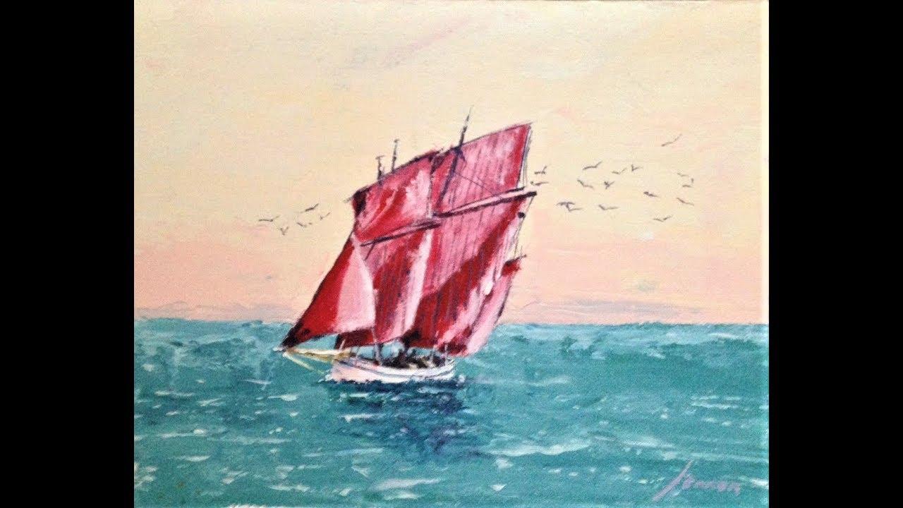 Malen mit Acryl: Segelschiff (Teil 2/2) - YouTube