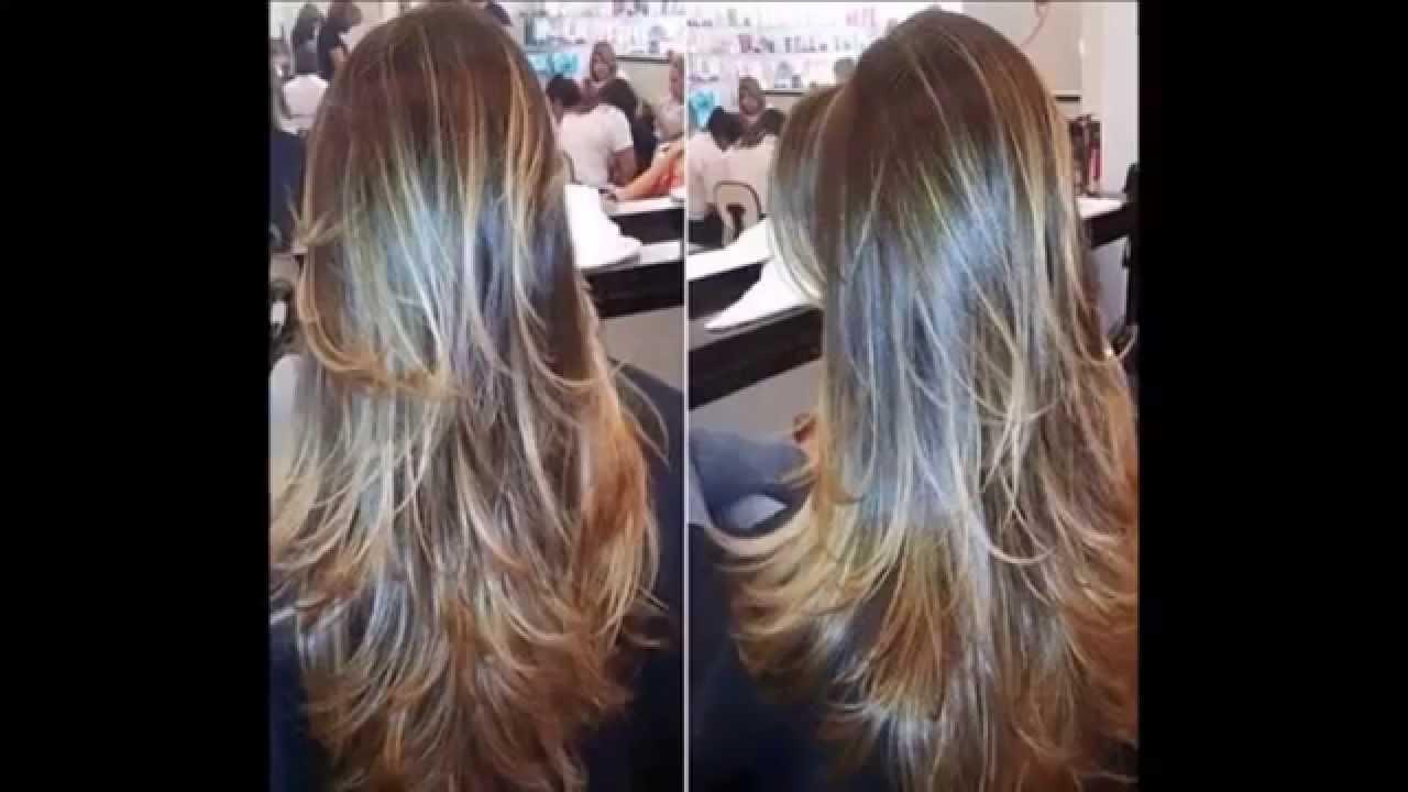 Corte de pelo escalonado largo liso