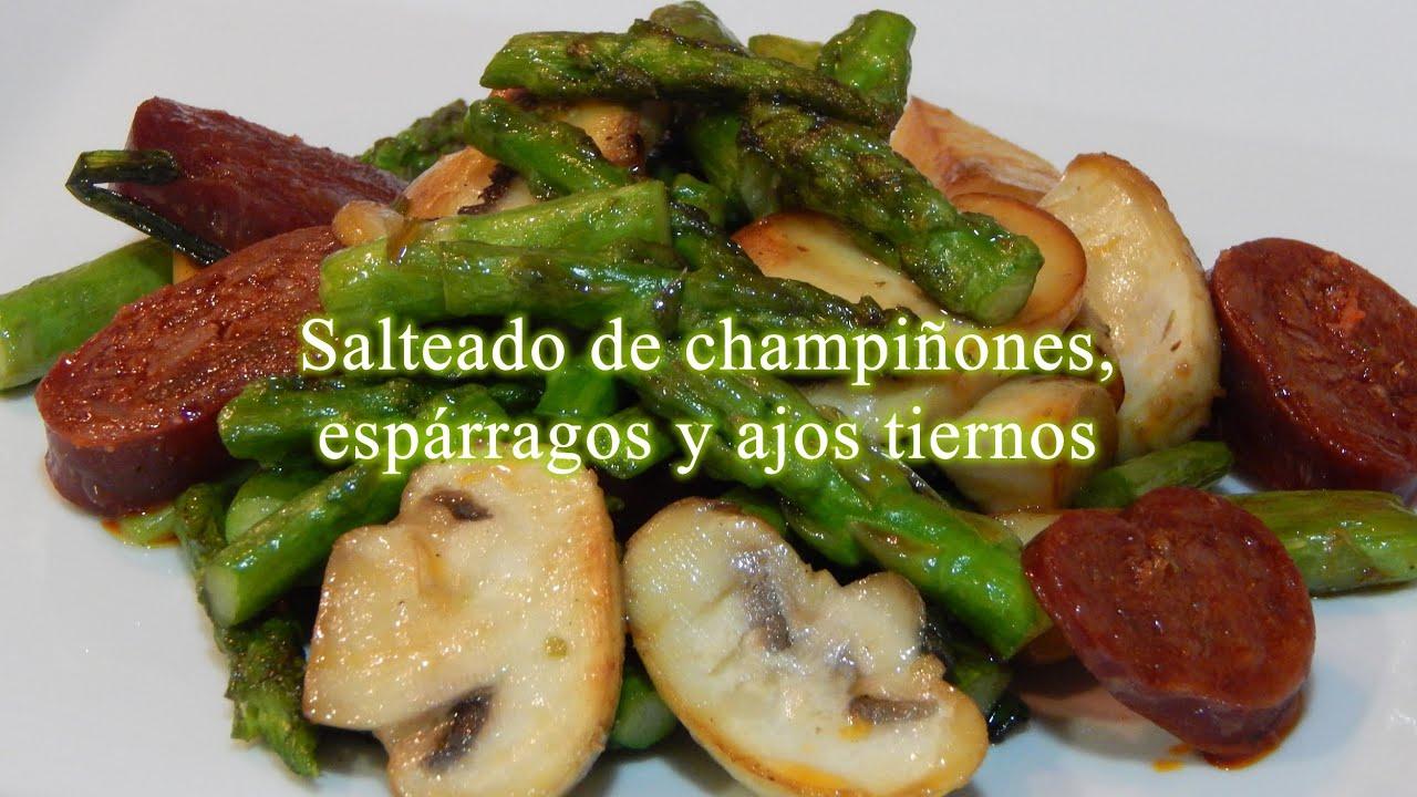 Receta de salteado de champi ones esp rragos y ajos for Cocinar esparragos