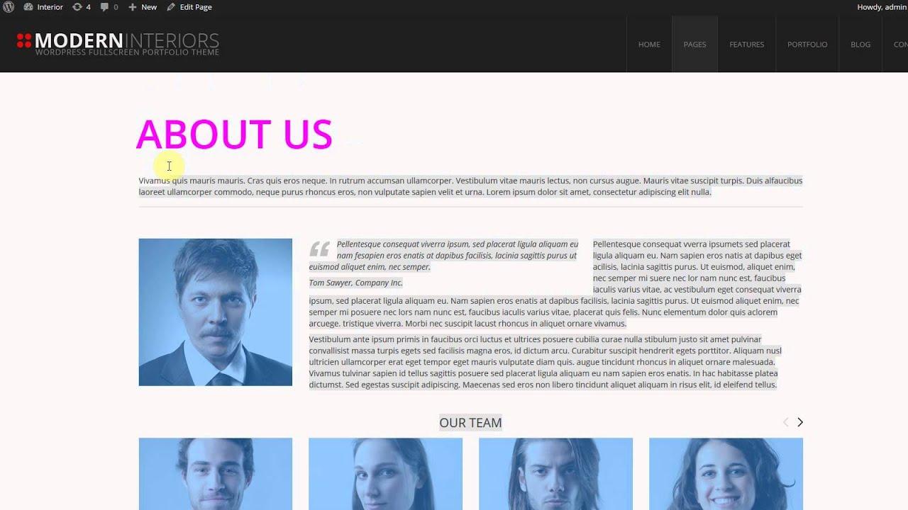 Modern Interior WordPress Theme. Header text color option - YouTube