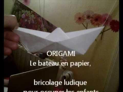 origami le bateau en papier bricolage ludique pour occuper les enfants youtube. Black Bedroom Furniture Sets. Home Design Ideas