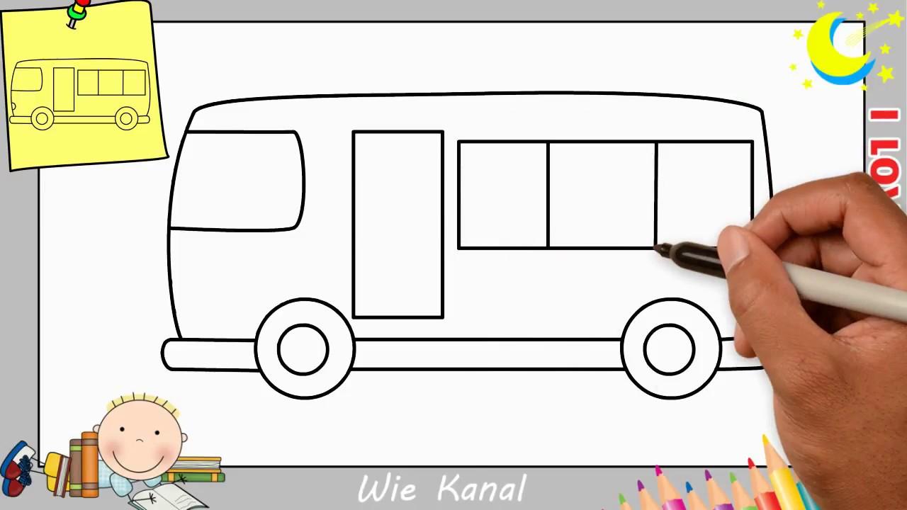 bus zeichnen lernen einfach schritt f r schritt f r. Black Bedroom Furniture Sets. Home Design Ideas