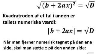 Når man fjerner numerisk tegnet, skal man skrive plus minus