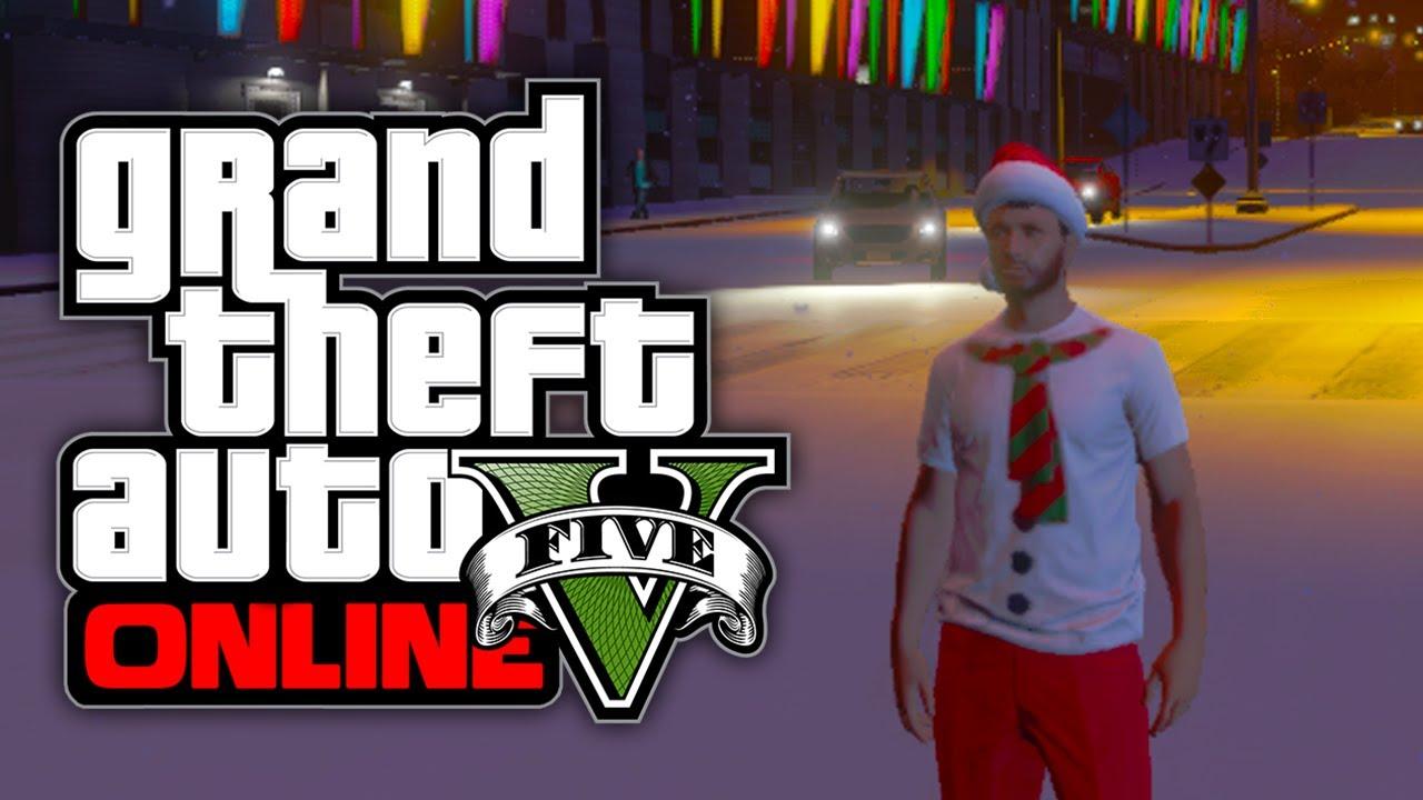 GTA 5 Online: NEW Christmas DLC Clothes Gameplay & Snow! (GTA V ...