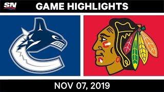 NHL Highlights   Canucks vs. Blackhawks – Nov. 07, 2019