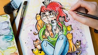 Speed Painting HAPPINESS - Catlady [LemiaCrescent Contest]