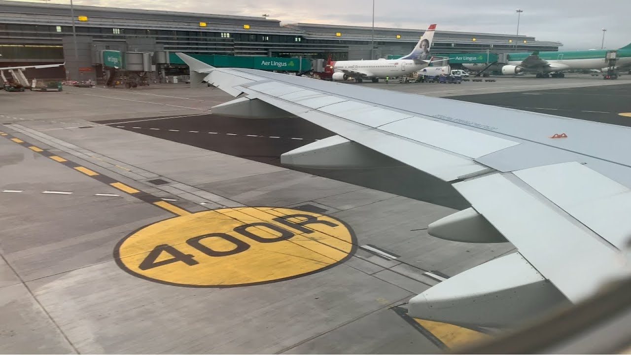 Overcast Aer Lingus A320 Morning Takeoff Dublin EIDW