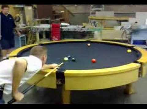 the first ever custom round pool table youtube. Black Bedroom Furniture Sets. Home Design Ideas