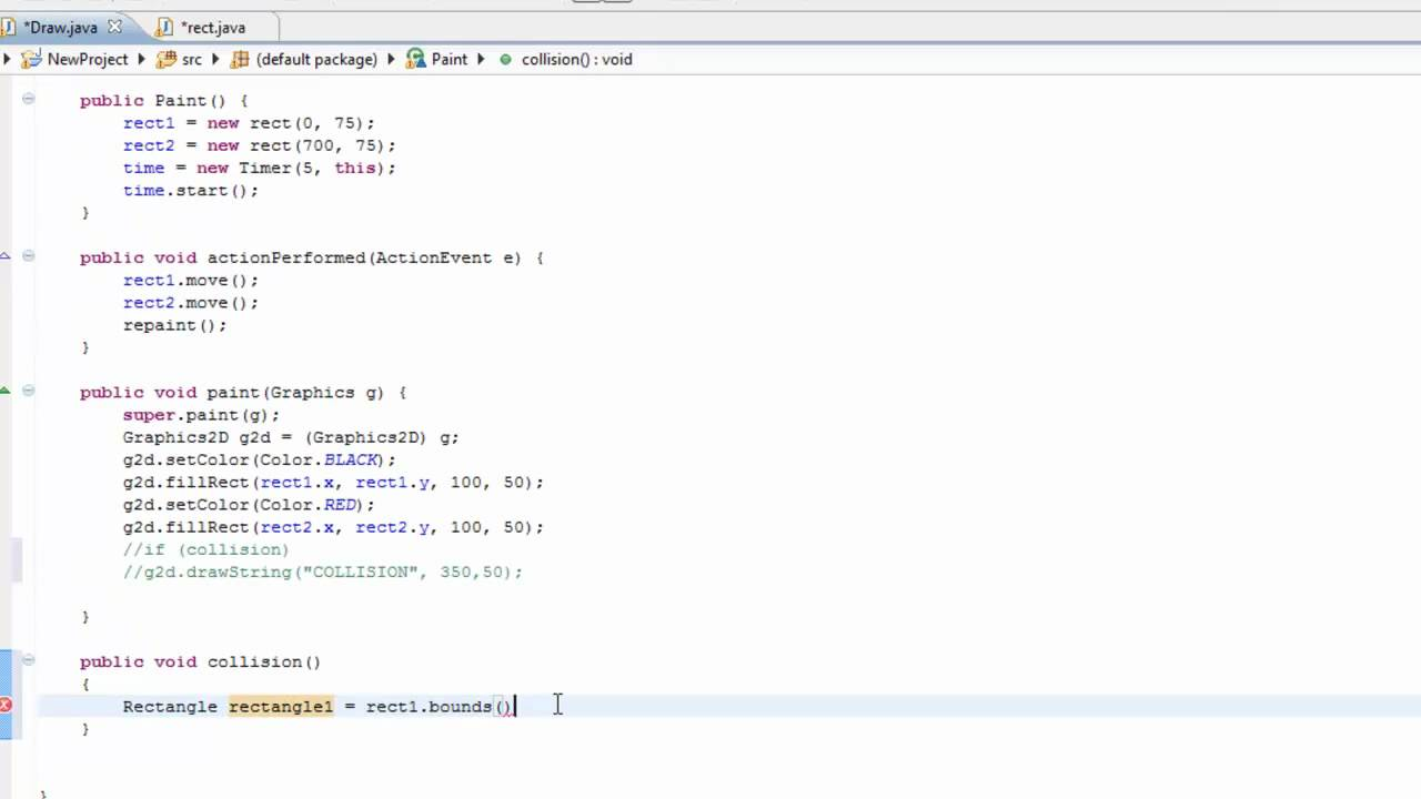 Collision detection in Java - The basics