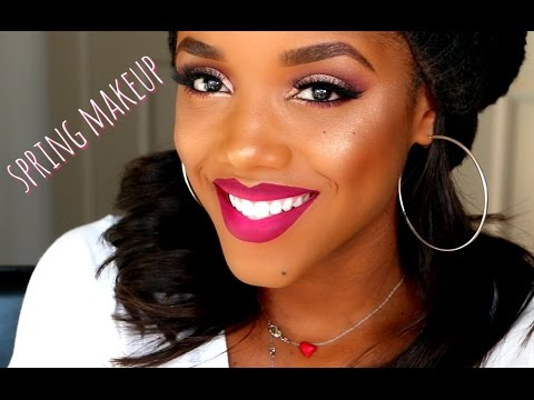 Gold & Pink Spring Inspired Makeup with Ombre Lips   Ellarie