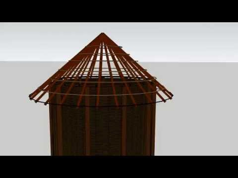 African vernacular architecture granary being constructed