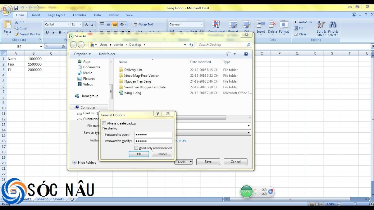 Dat mat khau cho file Word, Excel 2007
