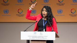 Cheryl Perera (OneChild & Migrant Representative) at the Global Migration Conference