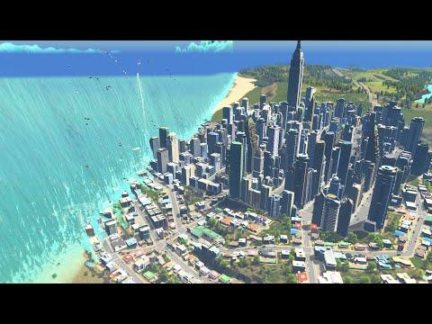 Massive Tropical Tsunami Destroys City | Cities Skylines Tsunami |