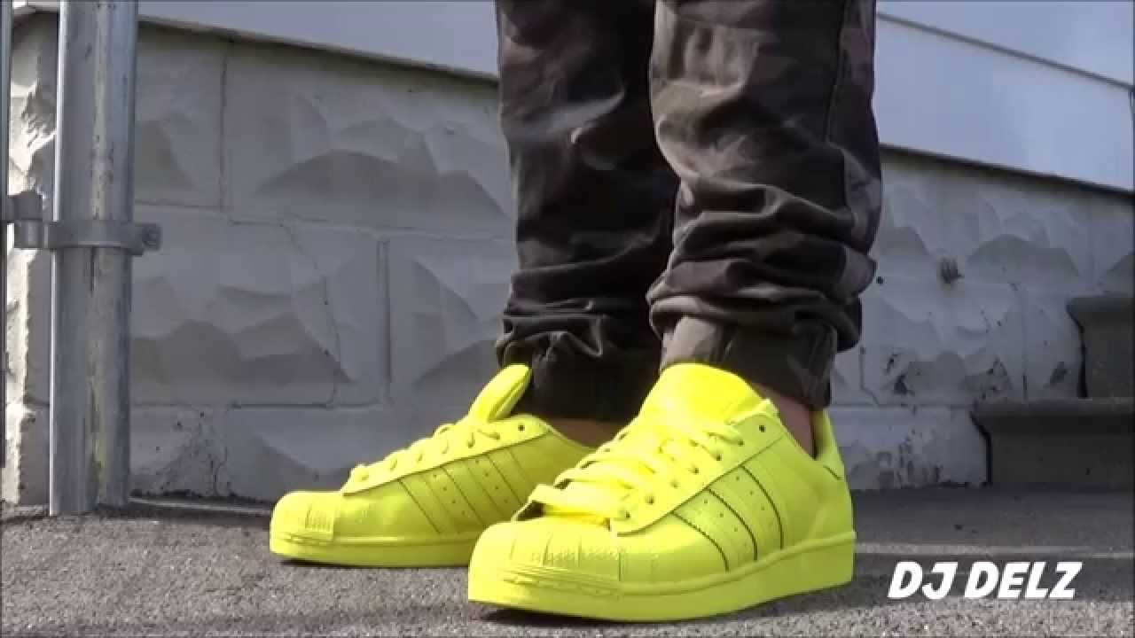 047287193197fe Pharrell adidas Originals Superstar Bright Yellow Supercolors Shoe Unboxing  + On Feet With  DjDelz - YouTube