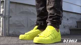 Pharrell adidas Originals Superstar Bright Yellow Supercolors Shoe Unboxing + On Feet With @DjDelz Mp3