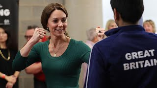 video: Duchess of Cambridge meets families behind sports stars of the future