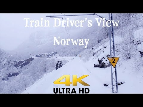 TRAIN DRIVER'S VIEW: Nice Winter Day On The Flåm Line In 4K UltraHD