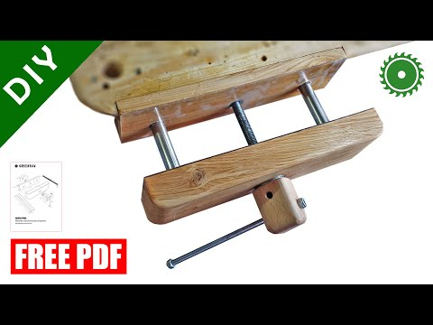 Wooden Bench Vise making / free PDF plan / DIY