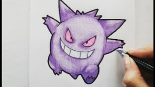 How to draw :  Gengar/ Ectoplasma / ゲンガー from POKEMON !