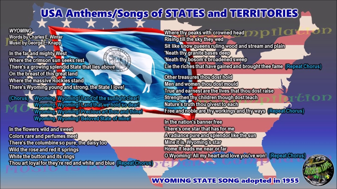Wyoming State Song WYOMING with music, vocal and lyrics - YouTube