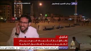 فيديو.. طائرة حربية تصيب مراسل الجزيرة بالذعر في ميدان تقسيم