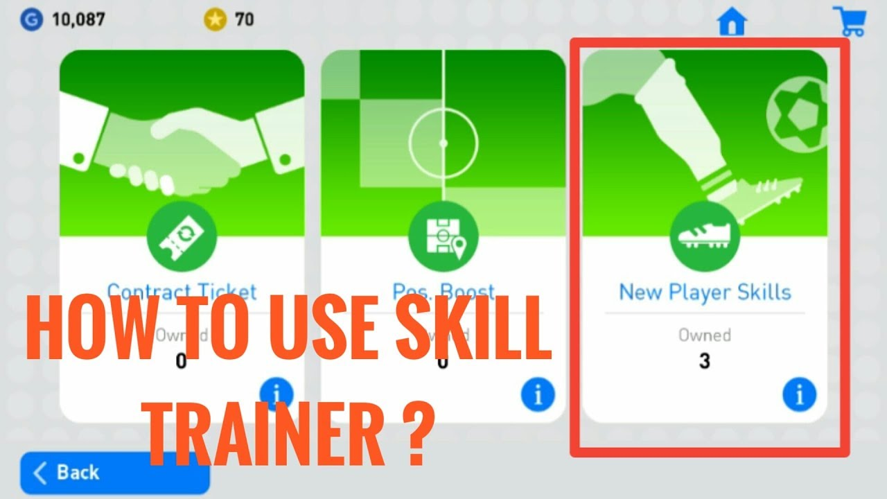 How To Use Player Skills Trainer [ PES 2019 MOBILE ]