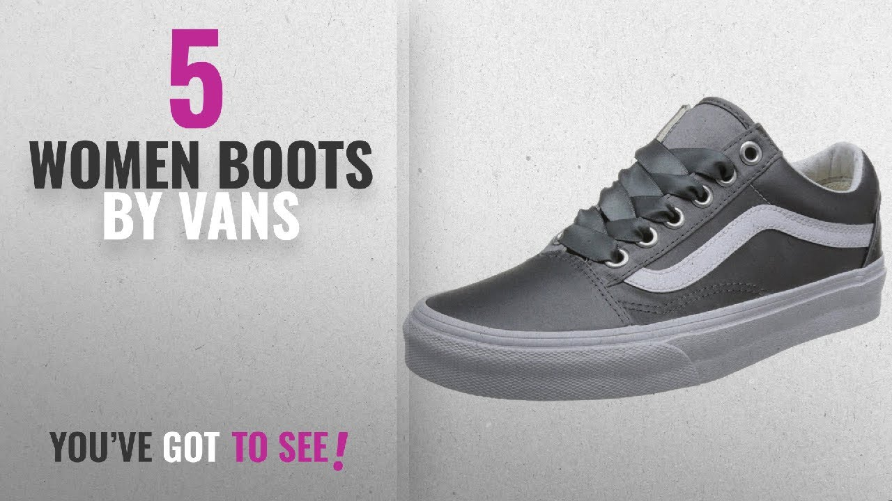db501807d47132 Top 10 Vans Women Boots  2018    Vans Satin Lux Old Skool Grey White Womens  Trainers