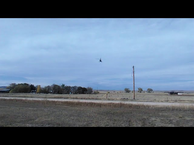 Colorado Medivac Helicopter Landing At The Calhan Colorado Airport, on a Saturday October Afternoon.