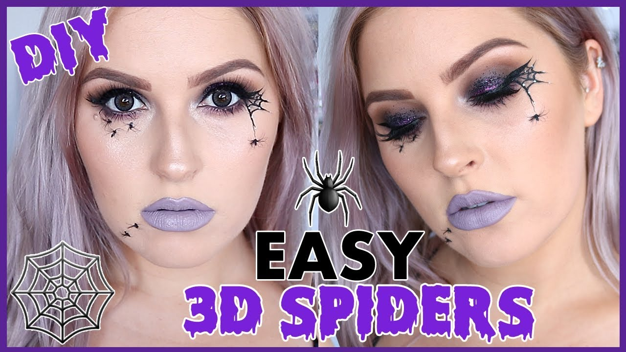 Diy Realistic Spiders Full Face Halloween Makeup Tutorial Easy Youtube