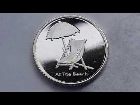"""""""AT THE BEACH"""" 1 GRAM .999 PURE SILVER BULLION ROUND UNENVELOPING!!!"""