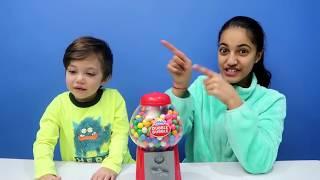 Funny Kids Takes Gumball Machine! New Family Fun Kids Video On HZHtube Kids Fun 2