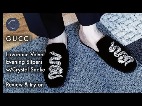 ae77e7ba5b1a Gucci Snake Velvet Lawrence Slippers with Crystal Snake + Comparison ...