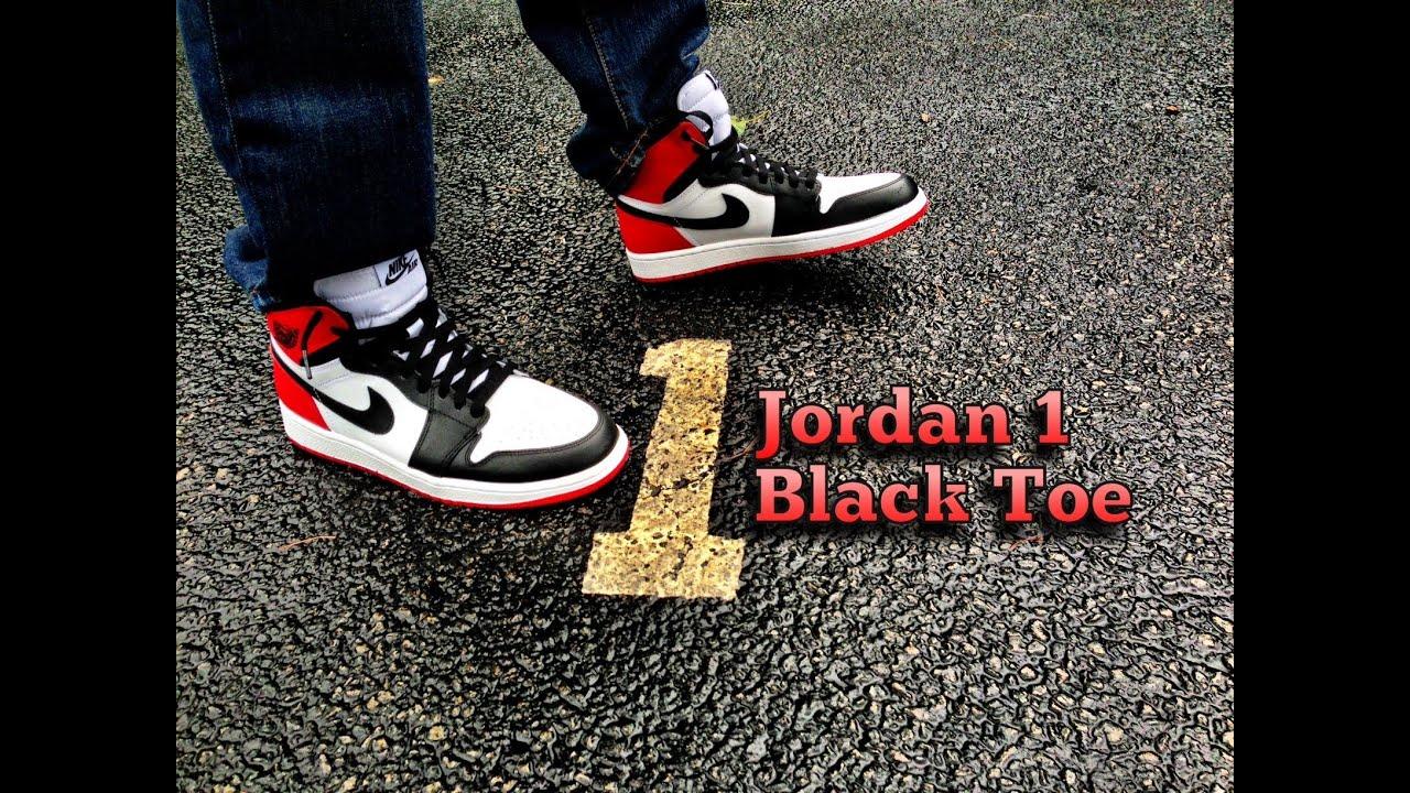 10d0841808143a ... australia air jordan retro 1 black toe review on feet youtube 9a62a  616b5