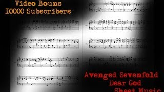 Video Bonus 10000 Subscribers Avenged Sevenfold - Dear God - Sheet Music