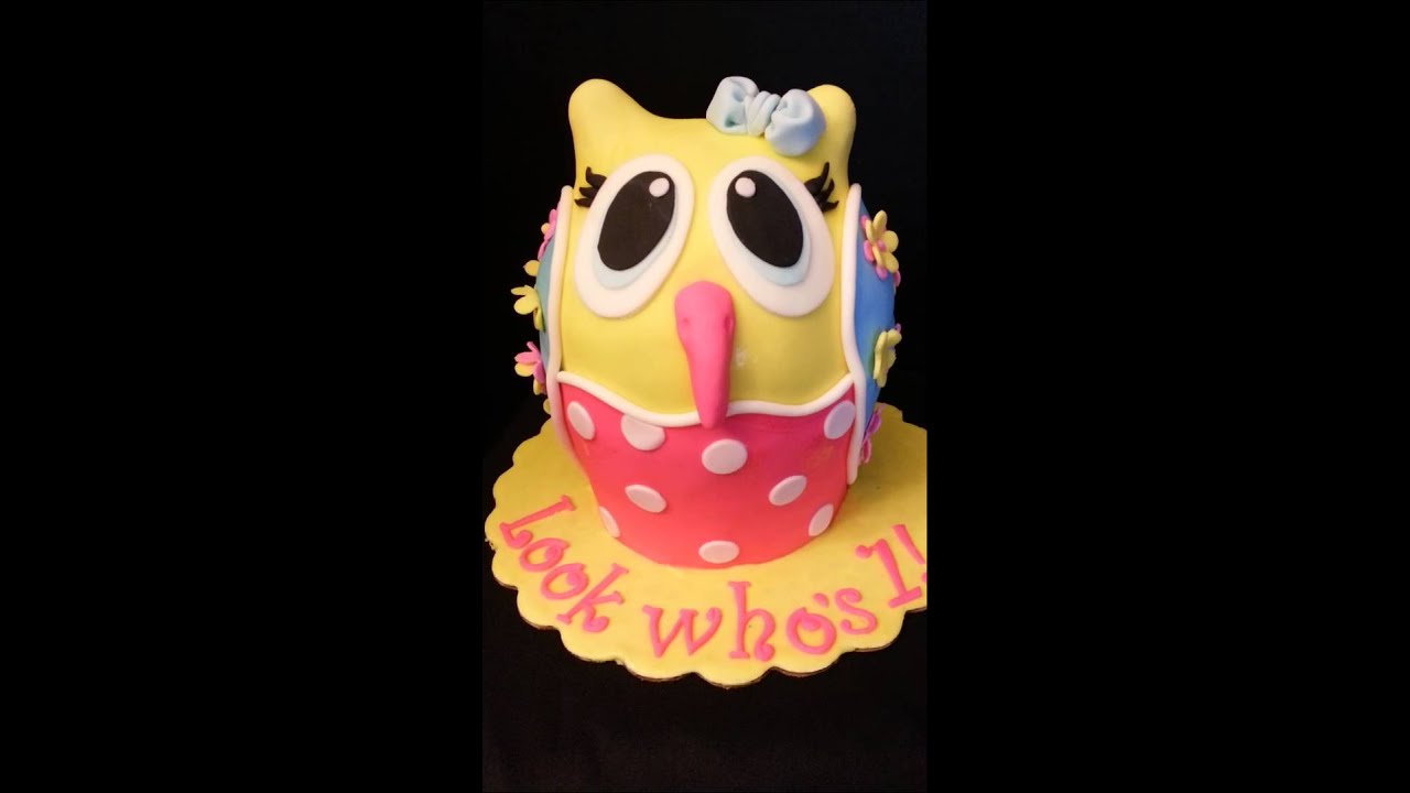 3D owl 1st birthday cake YouTube