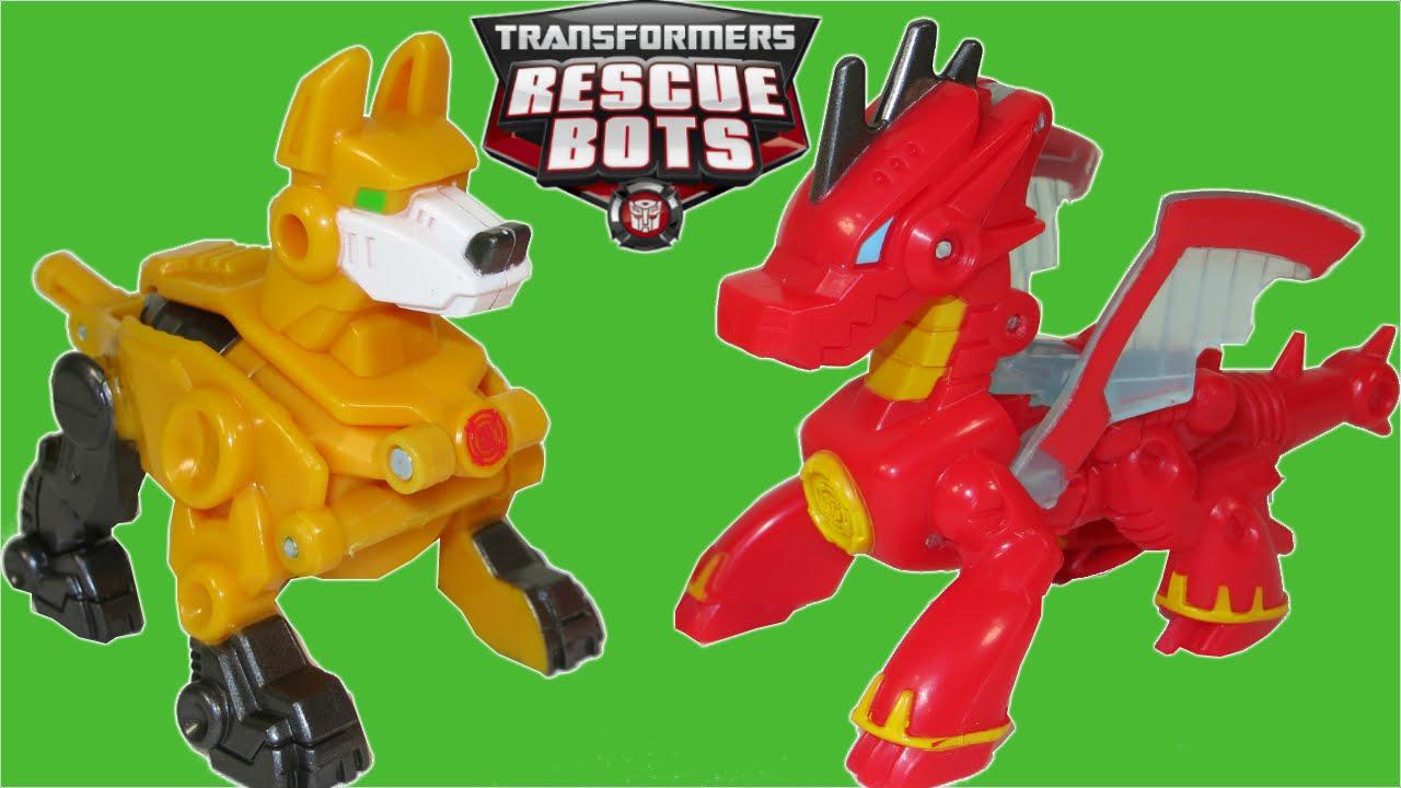 TRANSFORMERS RESCUE BOTS SERVO ROBOT DOG HEATWAVE DRAGON BOT BOULDER CHASE  CRIME DUELERS