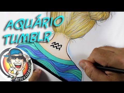 Como Desenhar Garota Tumblr Do Sígno Aquário Passo A Passo 501