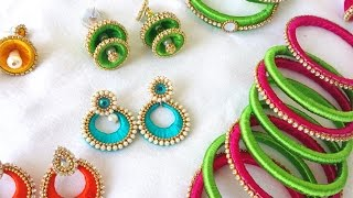 make a Designer Silk Thread jumkas Set  | Tutorial !!