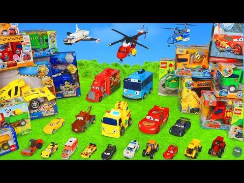 الحفار, الجرار, سيارة الإطفاء, شاحنات القمامة و سيارات الشرطة ومجموعة ألعاب Excavator Toys