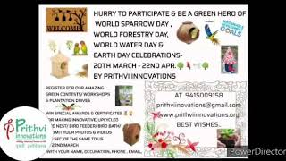 20th March 2020 Happy World Sparrow day by Prithvi Innovations