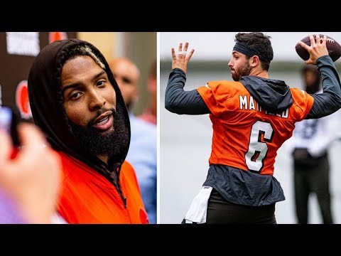 baker-mayfield-working-with-odell-beckham-jr,-landry,-callaway-cleveland-browns-training-camp